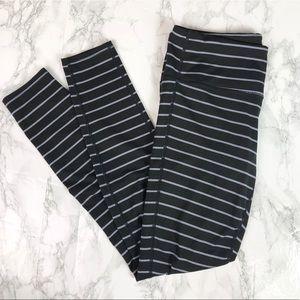 Athleta Chaturanga Grey Black Striped Leggings S